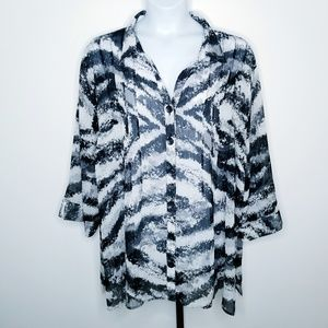 Maggie Barnes 5X Black White Silver Sheer Blouse